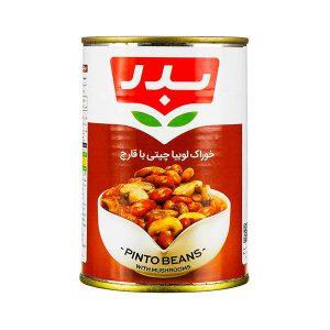 خوراک لوبیا چیتی با قارچ 430 گرمی بدر در کارتن 6 عددی