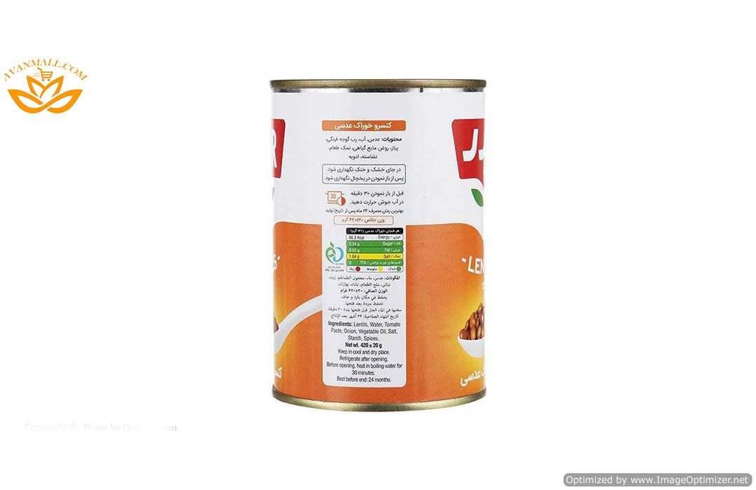 خوراک عدسی با سس 420 گرمی بدر در کارتن 12 عددی02