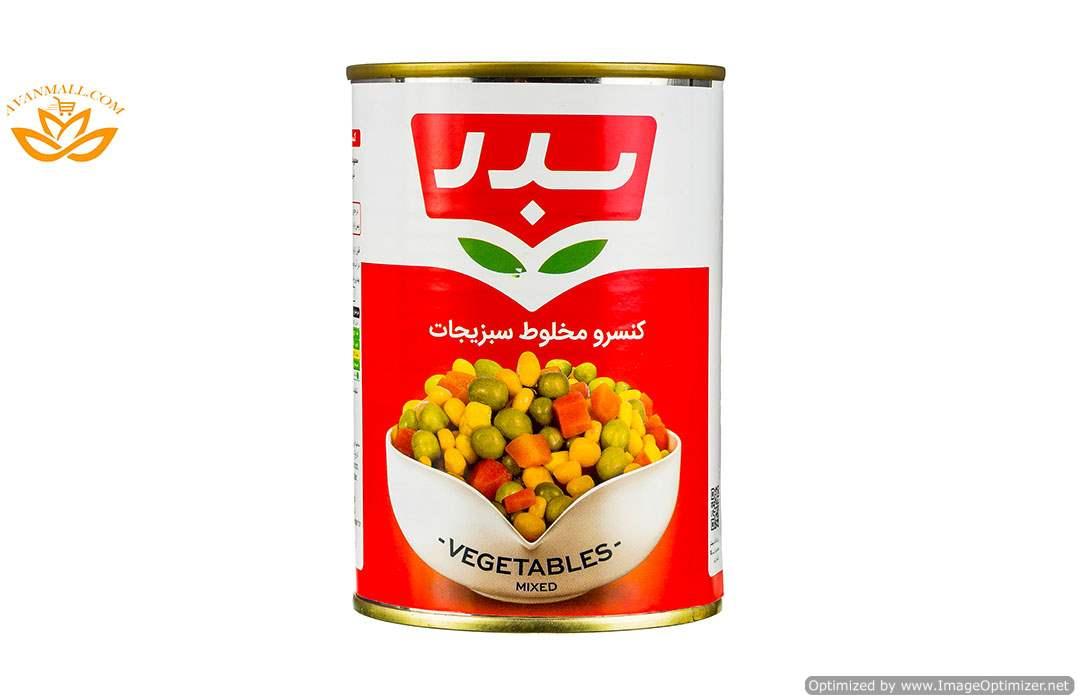 کنسرو مخلوط سبزیجات 430 گرمی بدر در کارتن 12 عددی01