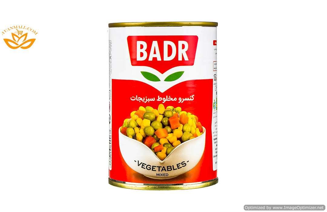 کنسرو مخلوط سبزیجات 430 گرمی بدر در کارتن 12 عددی02