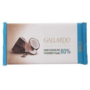عکس شاخص شکلات تلخ با پودر نارگیل 60 درصد تابلت گالارد 65 گرمی فرمند در 6 جعبه 12 عددی