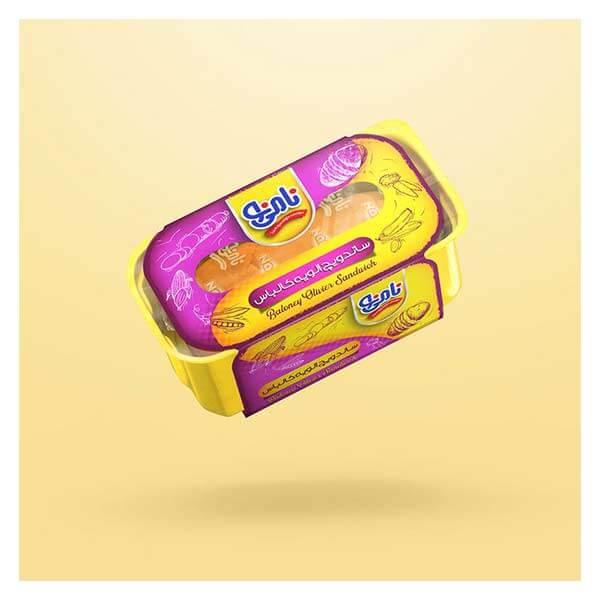 عکس شاخص،ساندویچ نیم باگت الویه کالباس نامی نو در کارتن 24 عددی