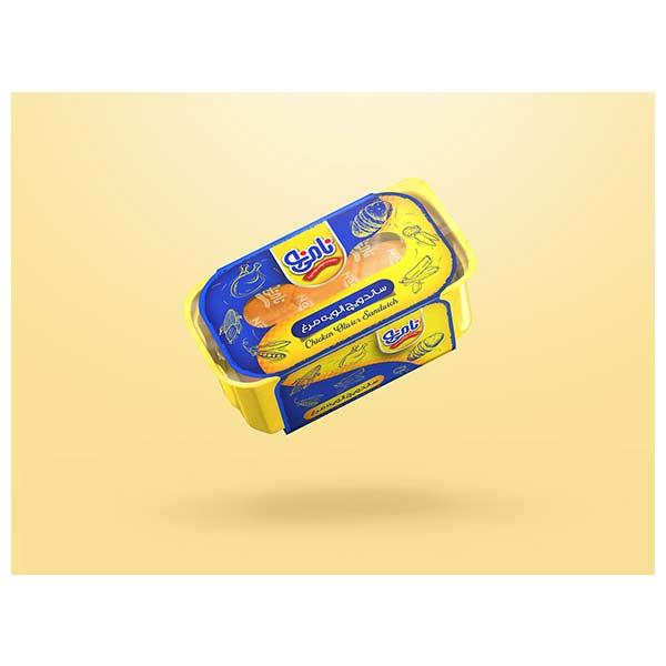 عکس شاخص،ساندویچ نیم باگت الویه مرغ نامی نو در کارتن 24 عددی
