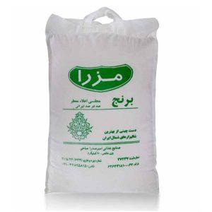 عکس شاخص برنج مجلسی اعلاء معطر مزرا در کیسه 10 کیلویی