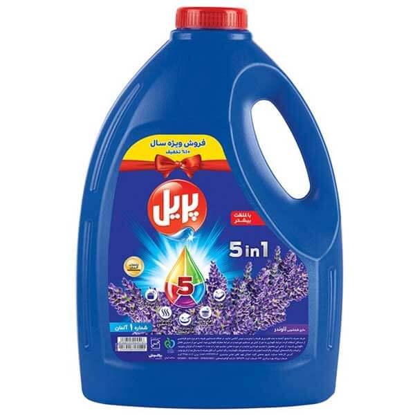 مایع ظرفشویی ۵ در ۱ چهار لیتری پریل با رایحه لاوندر در کارتن ۴ عددی