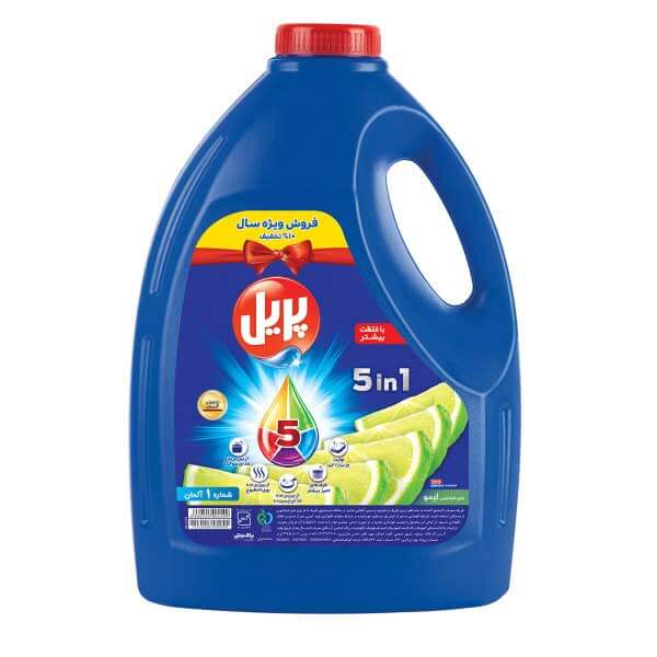 مایع ظرفشویی 5 در 1 چهار لیتری پریل با رایحه لیمو در کارتن 4 عددی