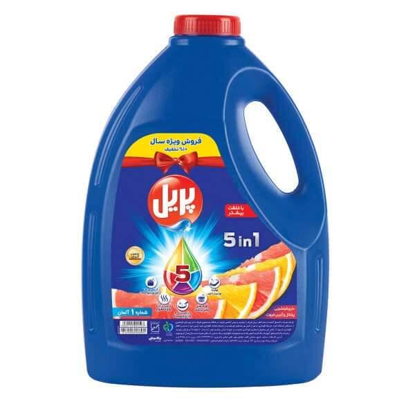 مایع ظرفشویی 5 در 1 چهار لیتری پریل با رایحه پرتقال و گریپ فروت در کارتن 4 عددی