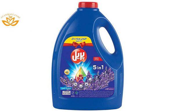 مایع ظرفشویی 5 در 1 چهار لیتری پریل با رایحه لاوندر در کارتن 4 عددی