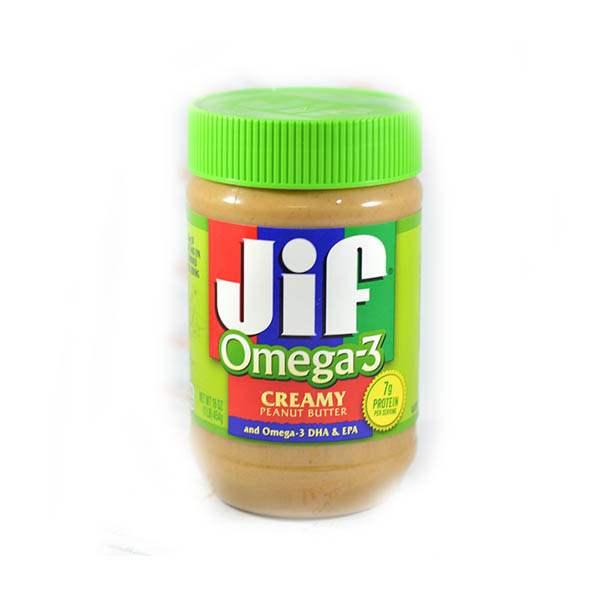 عکس شاخص،کره بادام زمینی 504 گرمی جیف مدل omega3 در کارتن 12 عددی