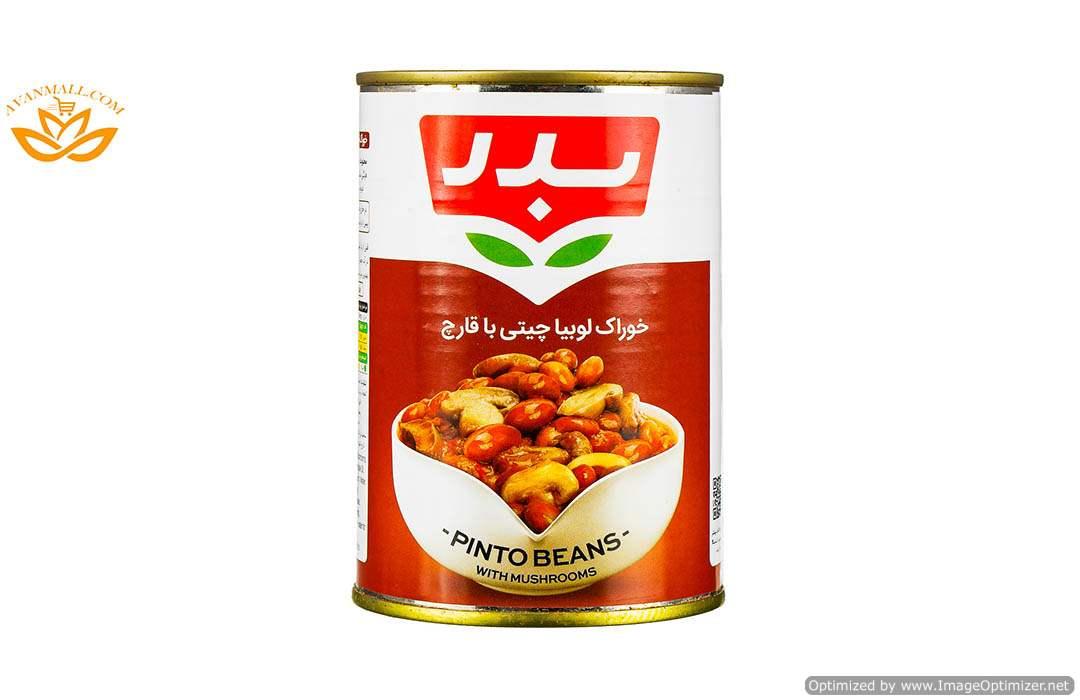 خوراک لوبیا چیتی با قارچ 430 گرمی بدر در کارتن 12 عددی01
