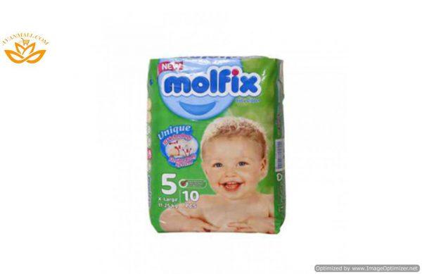 پوشک سایز 5 بسته 10 عددی مولفیکس در بسته بندی 4 عددی