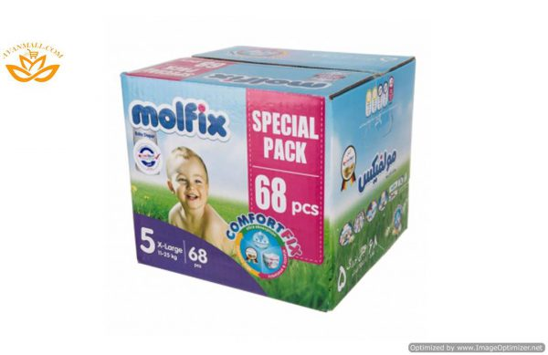 پوشک سایز 5 بسته 68 عددی مولفیکس در بسته بندی 2 عددی