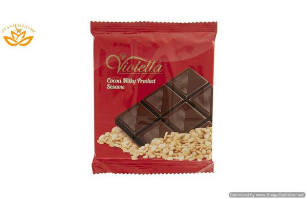 فرآورده کاکائویی شیری با کنجد تابلت ویولتا 5 گرمی فرمند در 8 جعبه 100 عددی
