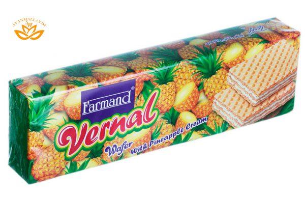 ویفر ورنال 80 گرمی فرمند با طعم آناناسی در 4 جعبه 12 عددی