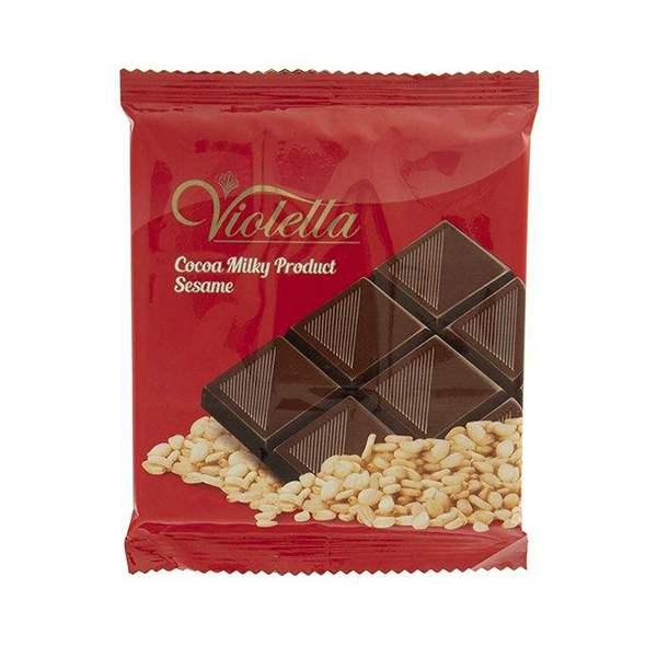 عکس شاخص فرآورده کاکائویی شیری با کنجد تابلت ویولتا 55 گرمی فرمند در 6 جعبه 12عددی