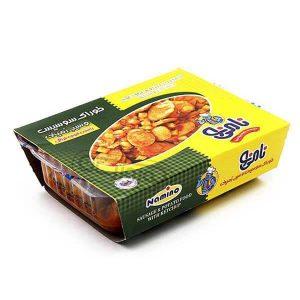 عکس شاخص،خوراک سوسیس و سیب زمینی 200 گرمی نامی نو در کارتن 30 عددی